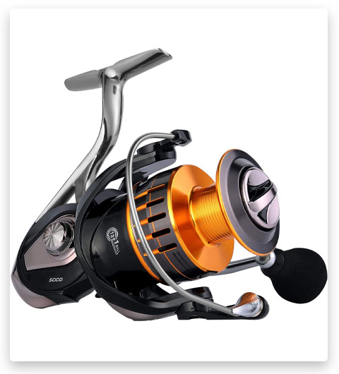 Sougayilang Spinning Fishing Reels with Left//Right Interchangeable Collapsible Wood Handle Powerful Metal Body 5.2:1//5.1:1 Gear Ratio Smooth 11BB for Inshore Boat Rock Freshwater Saltwater Fishing